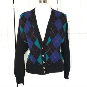 Plaid Knit Blue Black Cardigan 90s Vintage Classic
